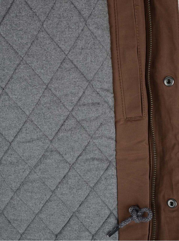 Hnedá pánska bunda s vreckami a kapucňou Quiksilver Sealakes