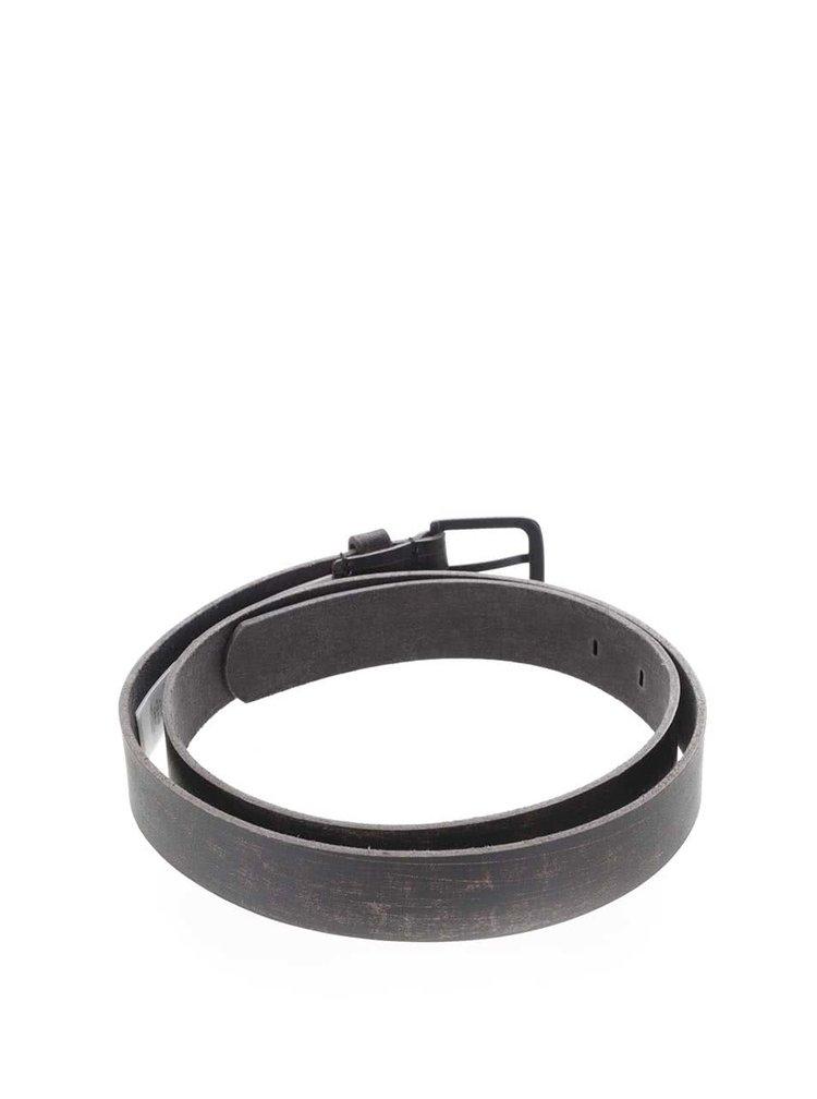 Tmavě hnědý pánský kožený pásek Quiksilver Edge