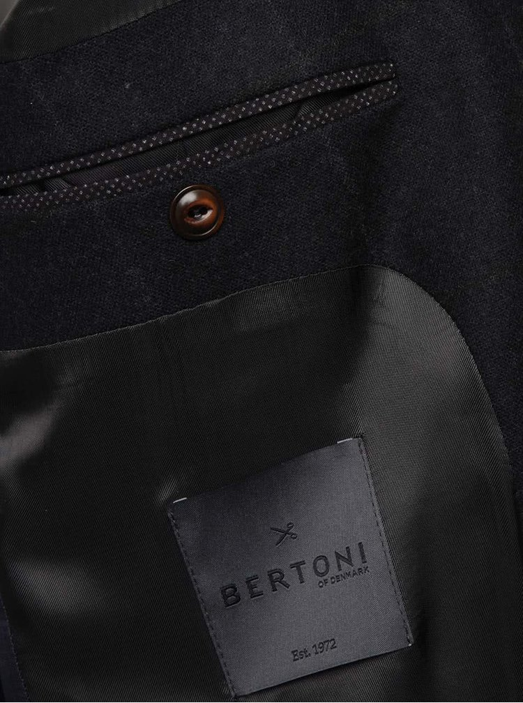 Tmavě modrý vlněný blejzr s drobným vzorem Bertoni