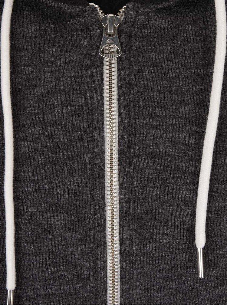 Tmavě šedá pánská žíhaná mikina na zip Quiksilver Everyday