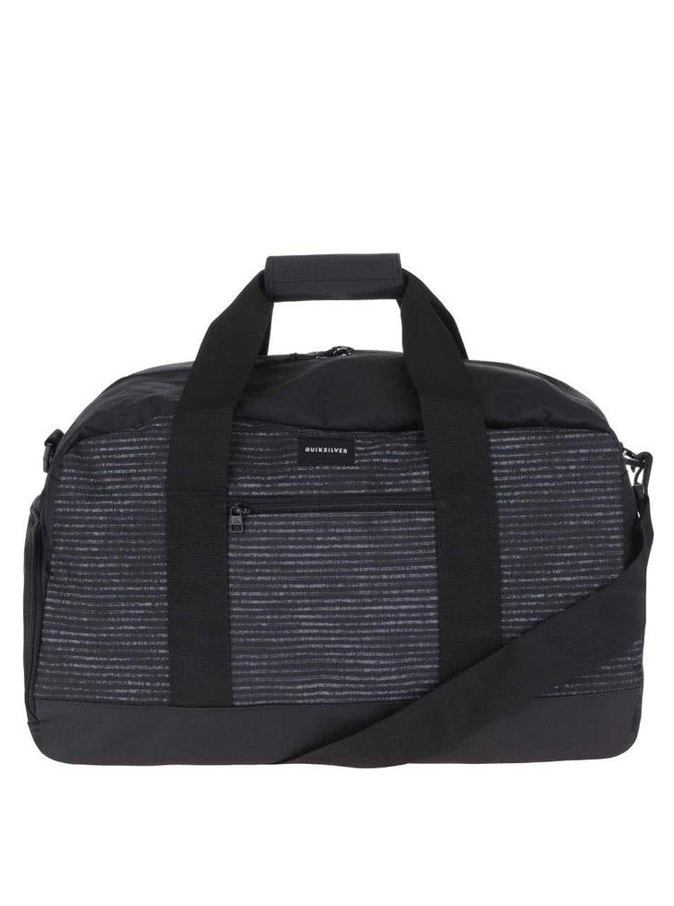 Sivo-čierna pánska cestovná taška s pruhmi Quiksilver Shelter