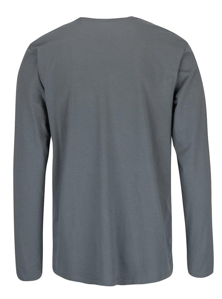 Zelenošedé pánské triko s dlouhým rukávem Quiksilver Classteels Jumhe
