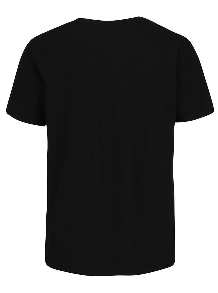 Černé pánské triko se žlutým nápisem Quiksilver Classteess Westp