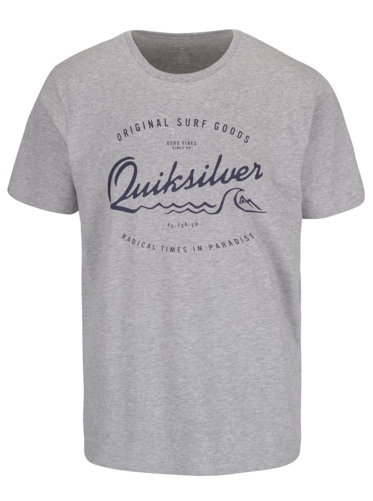 Tricou gri Quiksilver Classteess Westp din bumbac cu imprimeu