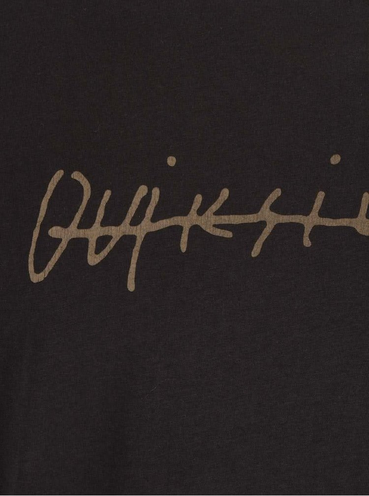 Tmavosivé pánske tričko s preškrtnutým nápisom Quiksilver Garm