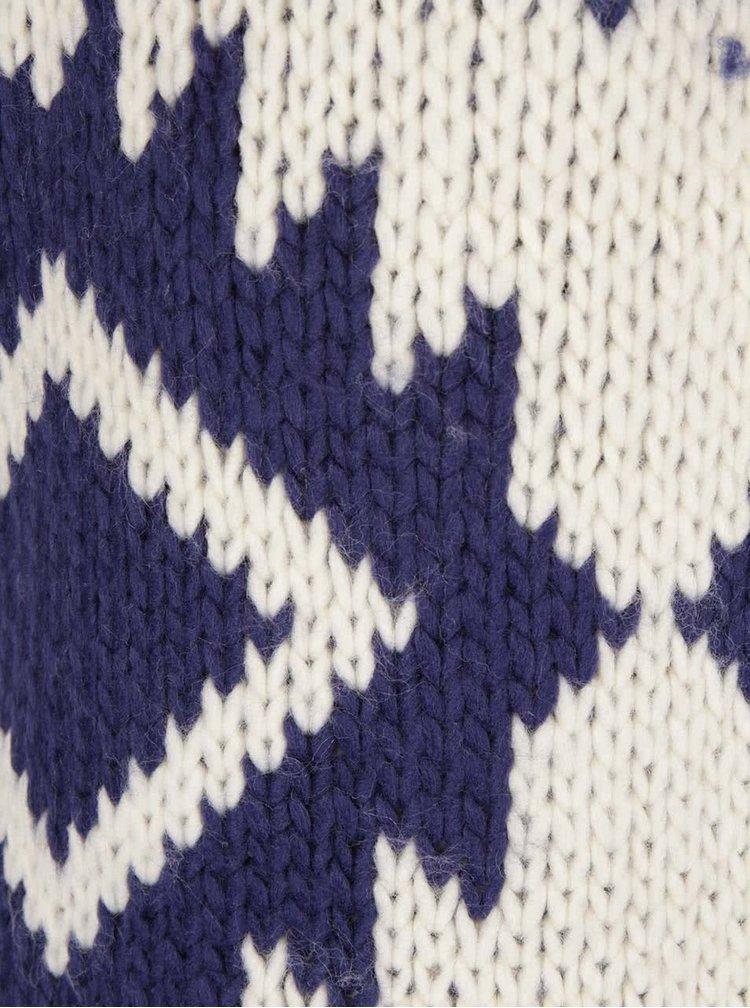 Krémovo-modrý vzorovaný kardigán Roxy Karid