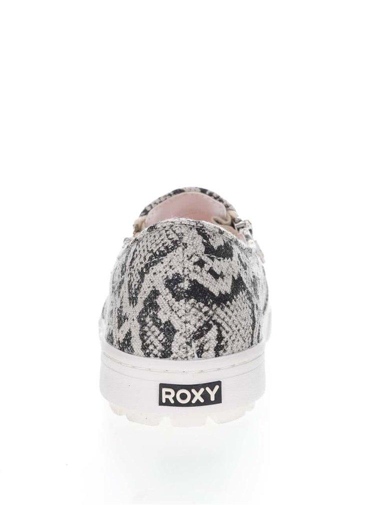 Černo-šedé loafers s hadím vzorem Roxy Juno