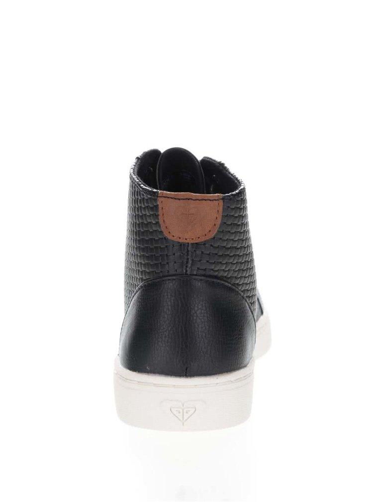 Černé kožené kotníkové tenisky Roxy Melbourne