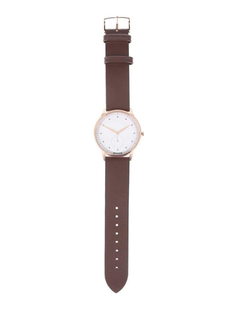 Pánské hodinky ve zlaté barvě s tmavě hnědým koženým páskem HYPERGRAND