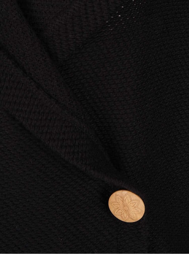 Čierny kardigan s kapucňou a drevenými gombíkmi Roxy Knot A Care