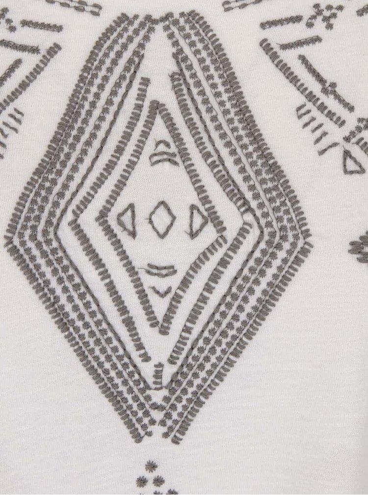 Krémové tričko s vyšitými ornamentmi Roxy Point