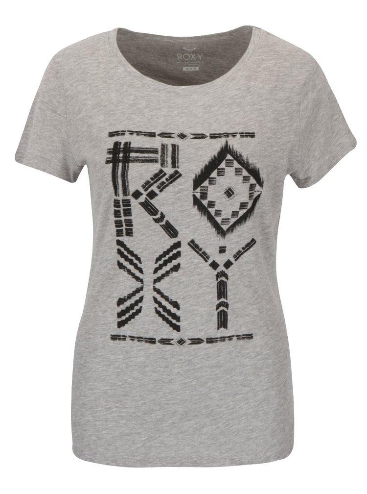 Šedé žíhané tričko s krátkým rukávem a potiskem Roxy Crewrxytribes