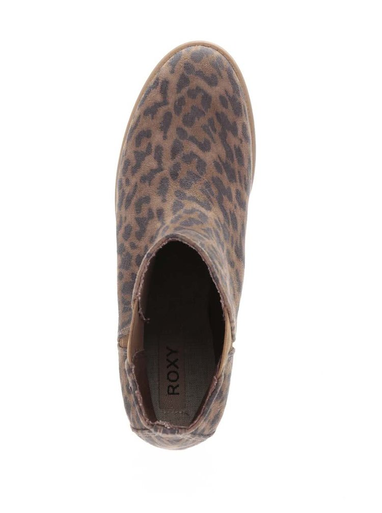 Hnědé kotníkové boty s leopardím vzorem Roxy Austin