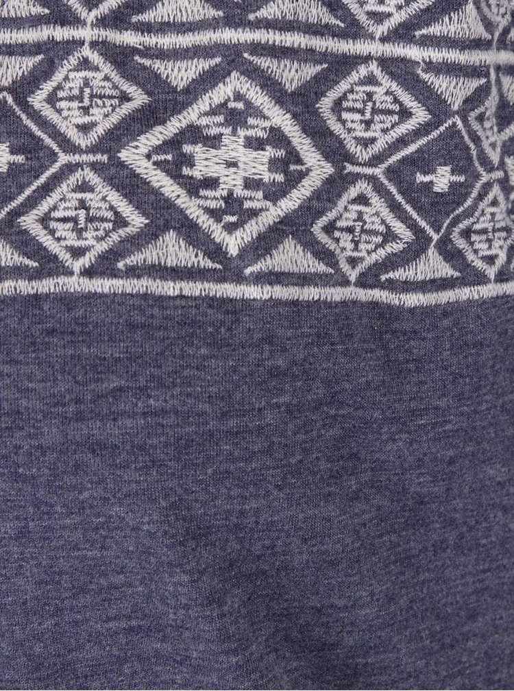 Modré volnější tričko bez rukávů s vyšitým vzorem Roxy Fashiondolgeo