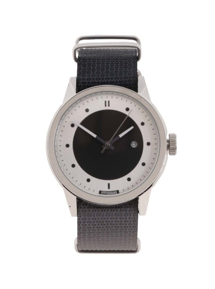 Pánské hodinky ve stříbrné barvě s tmavě šedým textilním páskem HYPERGRAND