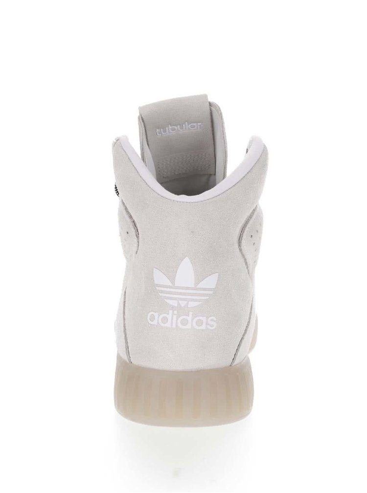 Krémové pánske kožené členkové tenisky adidas Originals Tubular Invader