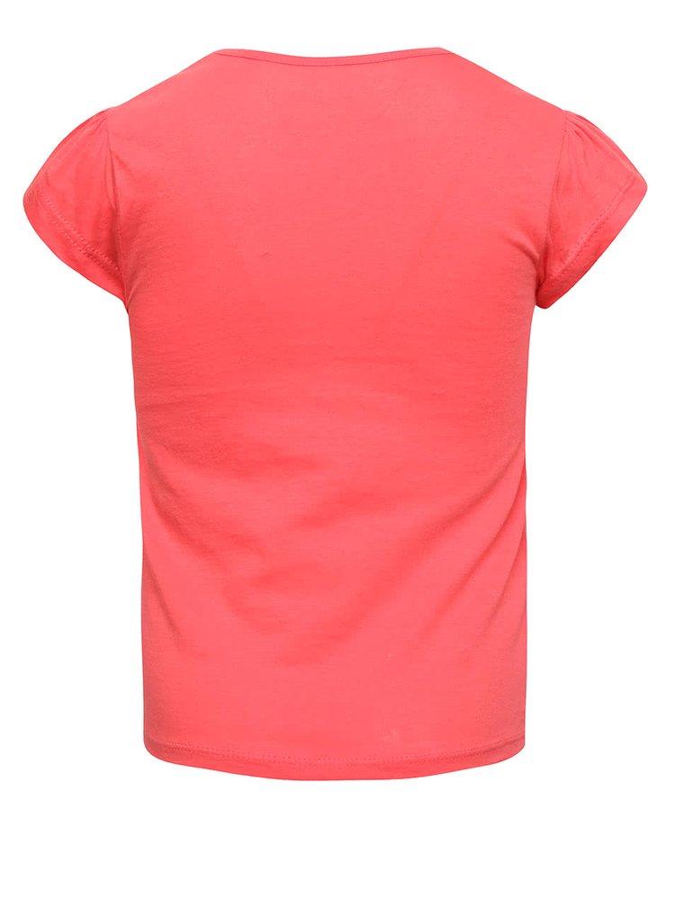 Růžové holčičí tričko s barevným potiskem Roxy