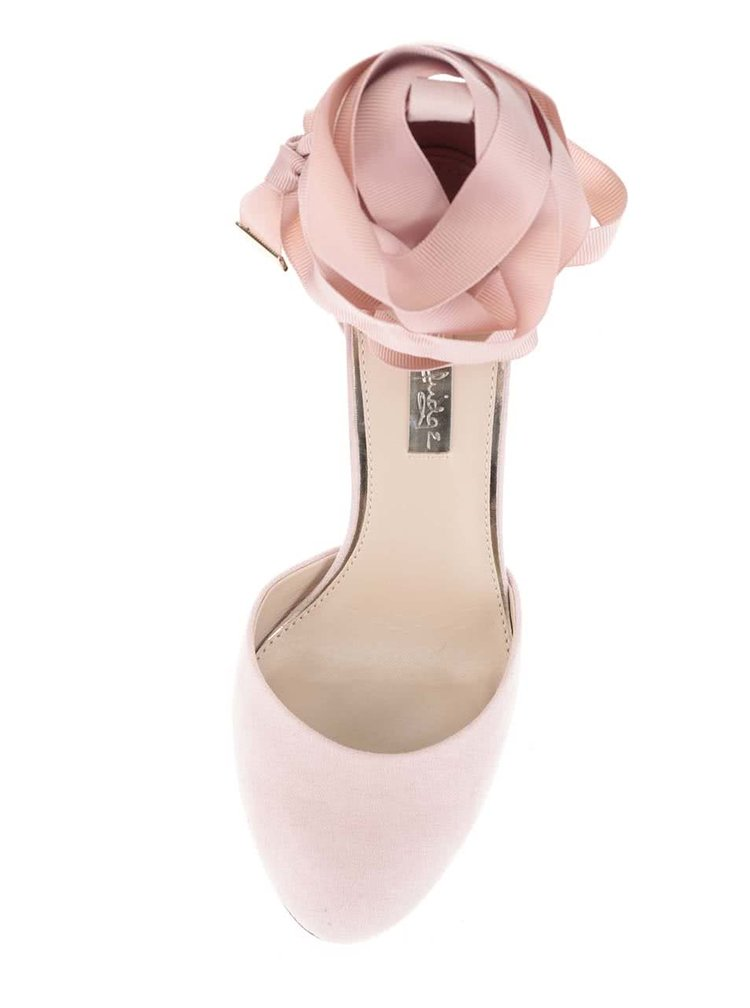 Svetloružové sandálky v semišovej úprave so šnurovaním Miss Selfridge