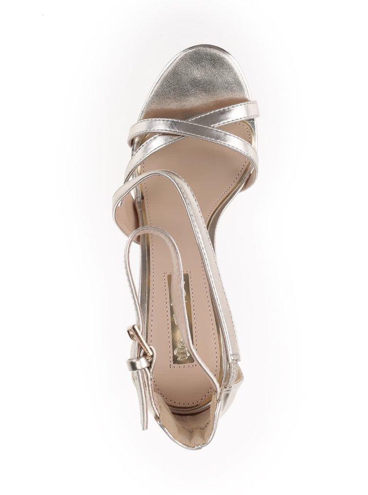 Metalické sandálky v zlatej farbe na ihličkovom podpätku Miss Selfridge