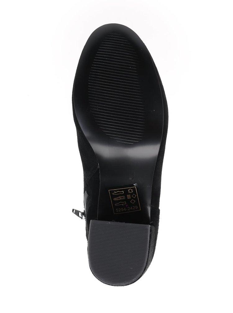Černé kotníkové semišové boty na podpatku Miss Selfridge