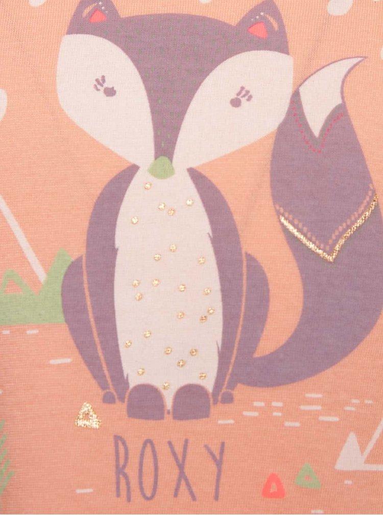 Marhuľové dievčenské tričko s motívom líšky a dlhým rukávom Roxy