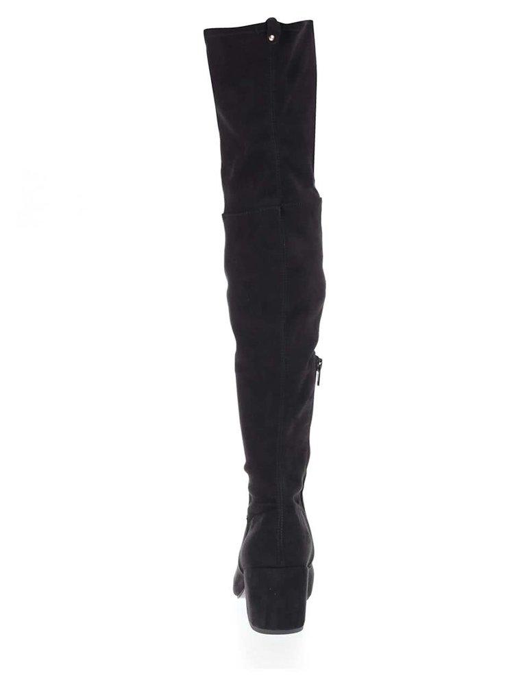 Čierne vyššie čižmy v semišovej úprave Miss Selfridge