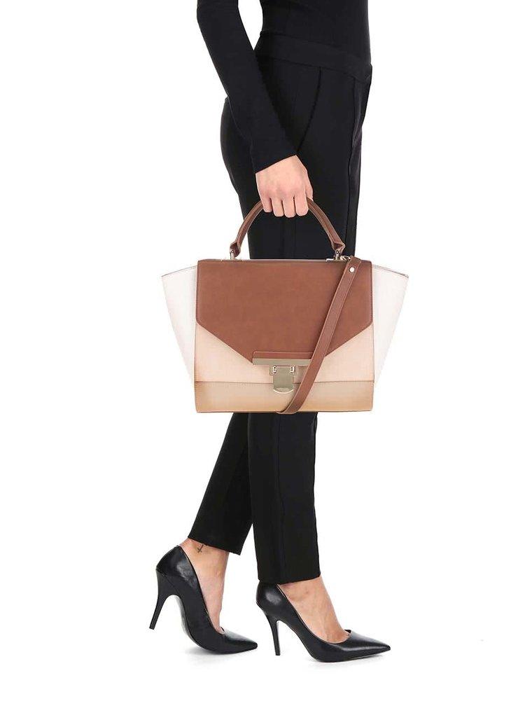 Hnedo-krémová kabelka s detailmi v zlatej farbe Miss Selfridge