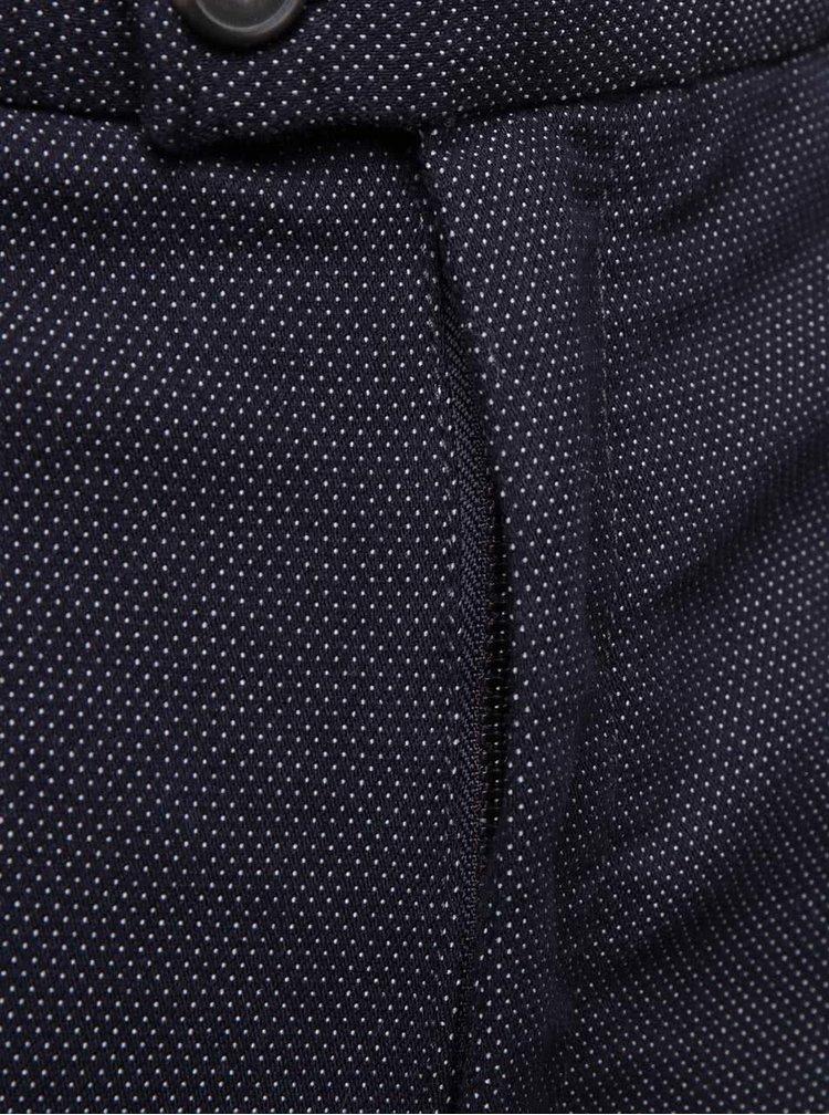 Tmavomodré slim fit nohavice so vzorom Burton Menswear London