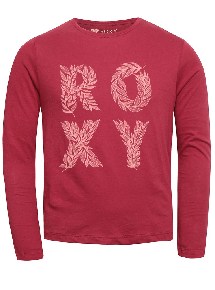 Vínové holčičí tričko s nápisem a dlouhým rukávem Roxy