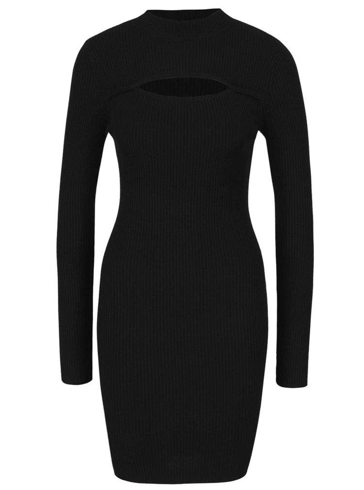 Černé svetrové šaty s průstřihem Miss Selfridge