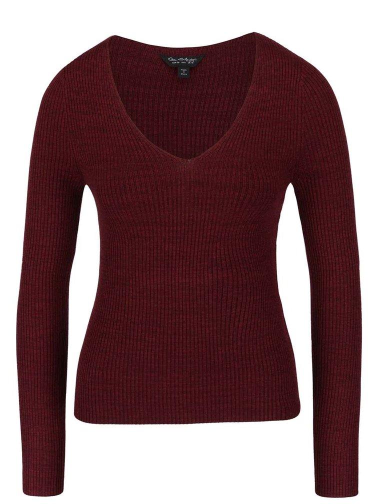 Vínový sveter s výstrihom Miss Selfridge