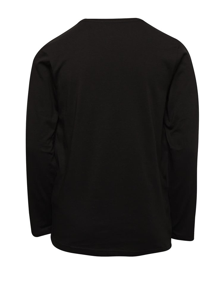 Černé klučičí tričko s dlouhým rukávem a potiskem Quiksilver