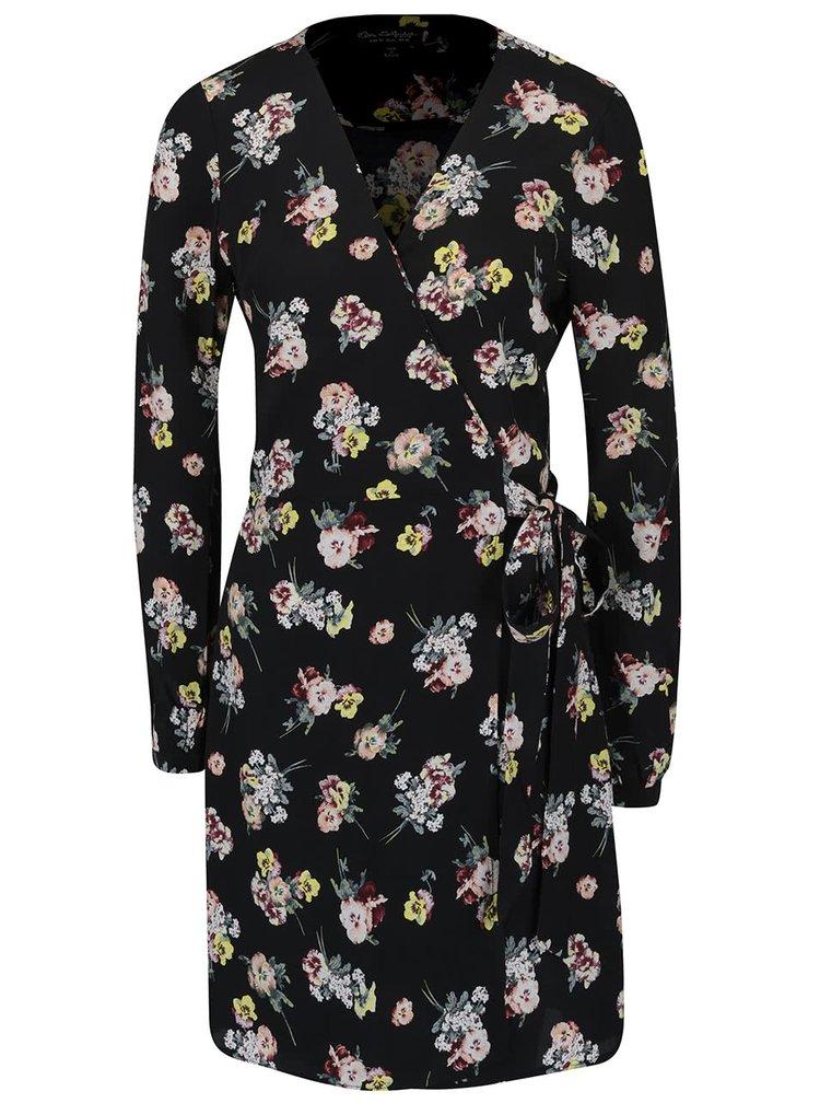 Černé zavinovací květované šaty s dlouhým rukávem Miss Selfridge