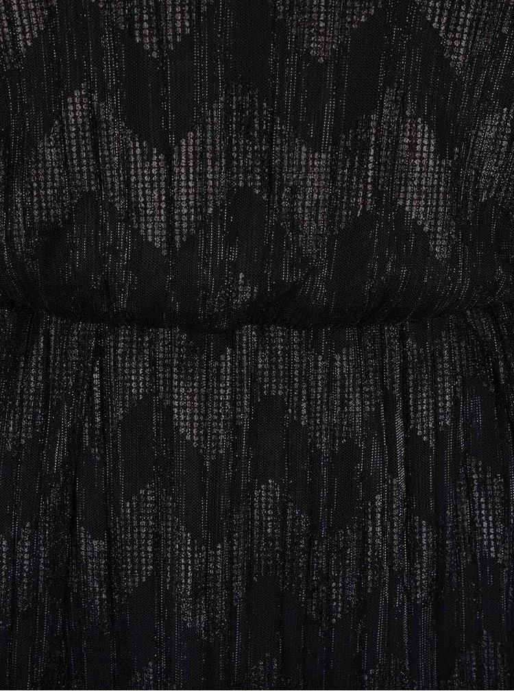 Černé lesklé maxišaty s krajkou Miss Selfridge