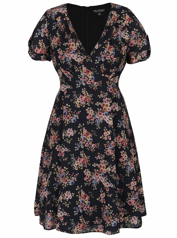 Černé šaty s květovaným vzorem Miss Selfridge