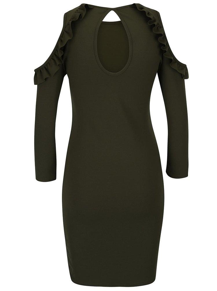 Kaki šaty s odhalenými ramenami a volánmi Miss Selfridge