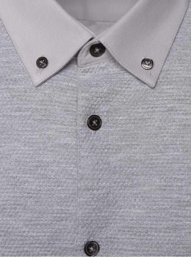 Šedá košile s krátkým rukávem Burton Menswear London