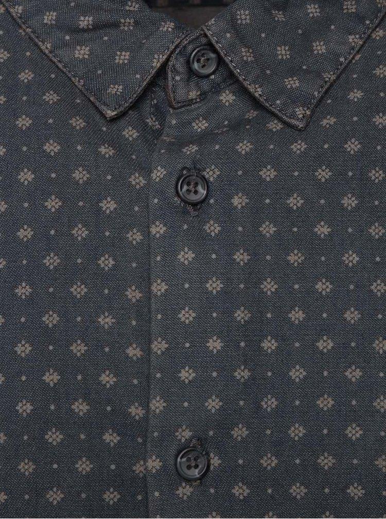 Modrá džínová košile se vzorem Burton Menswear London
