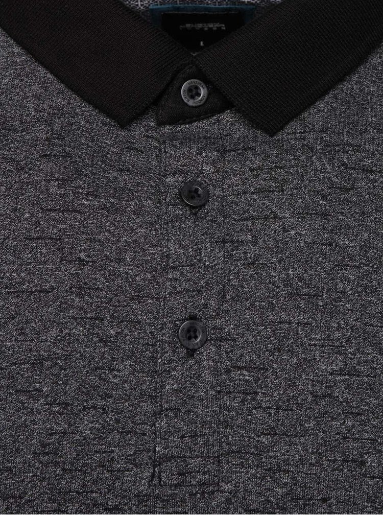 Tricou polo negru & gri Burton Menswear London