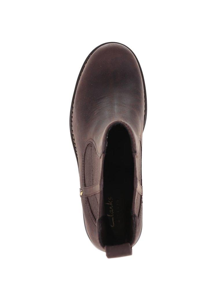 Hnedé dámske kožené členkové topánky Clarks Orinoco Club