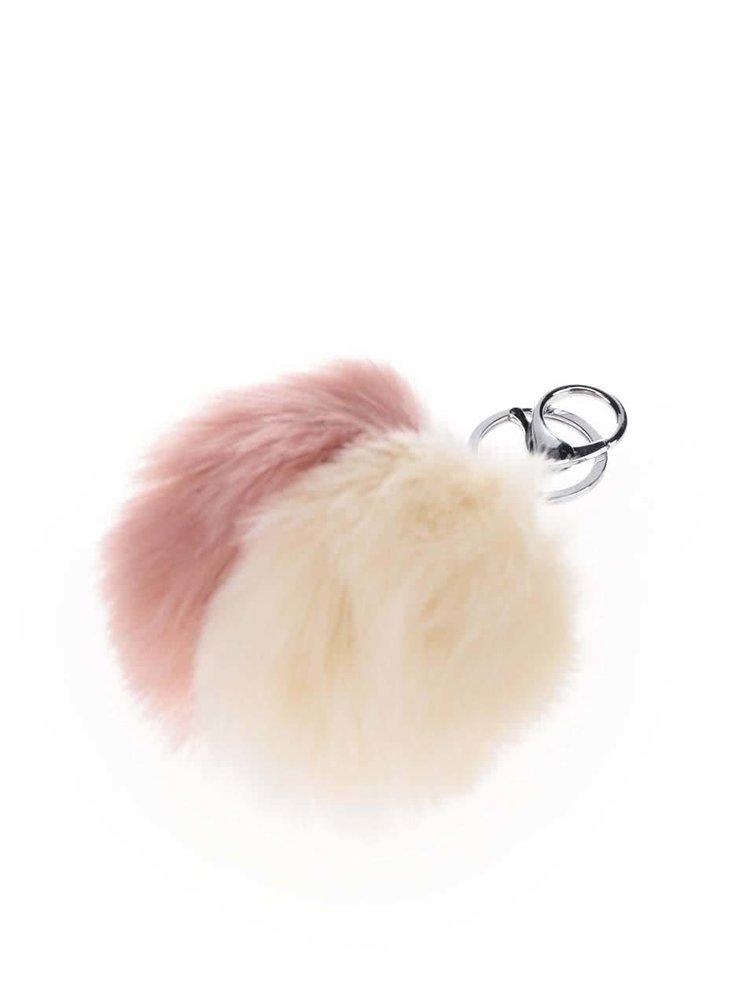 Krémovo-růžový kulatý přívěšek Haily's Pompom