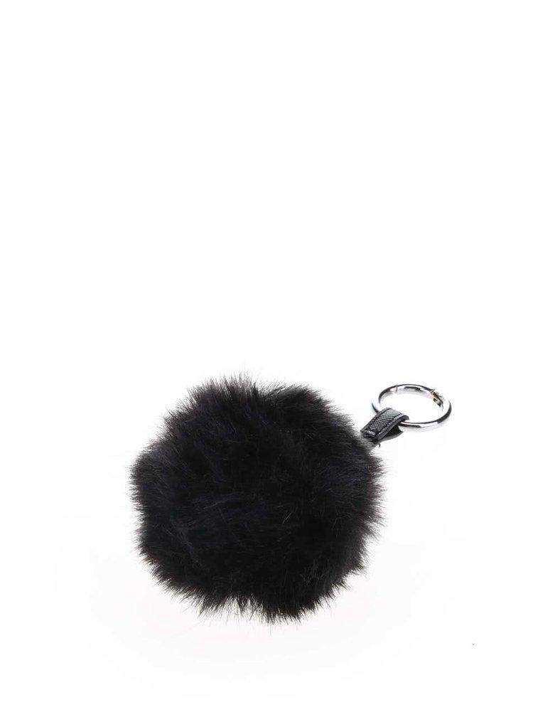 Breloc negru cu blană sintetică Haily's Pompom