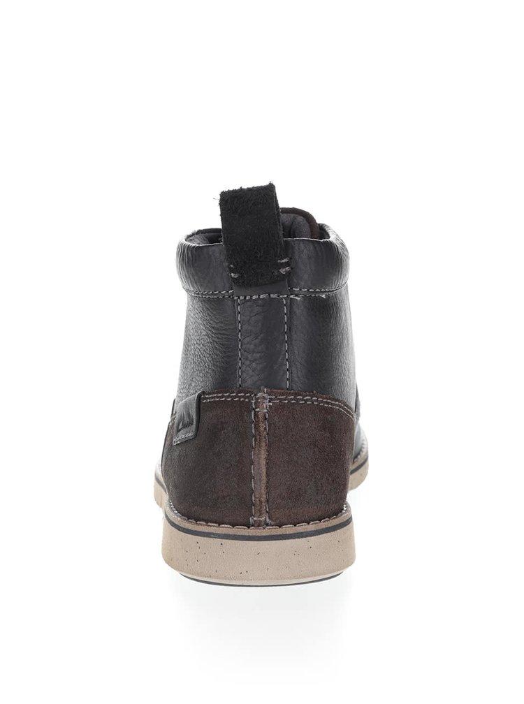 Černé pánské kožené kotníkové boty Clarks Kyston