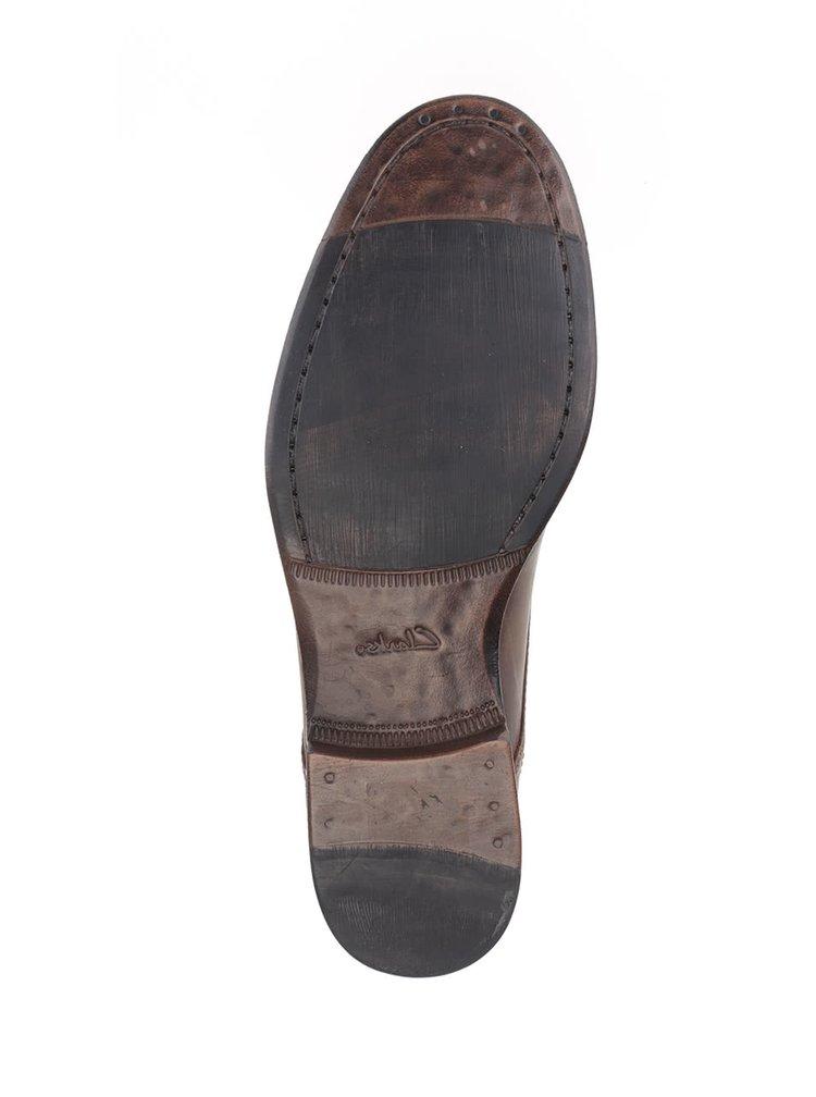 Tmavohnedé pánske kožené poltopánky Clarks Brocton Walk