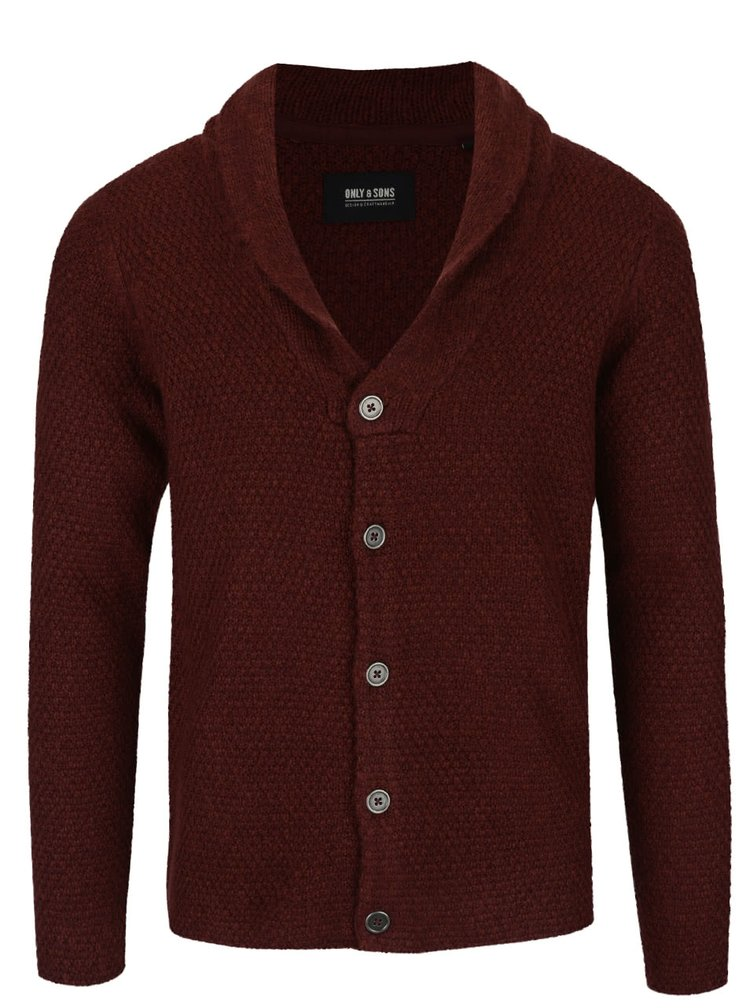 Cardigan vișiniu ONLY & SONS Cadoc