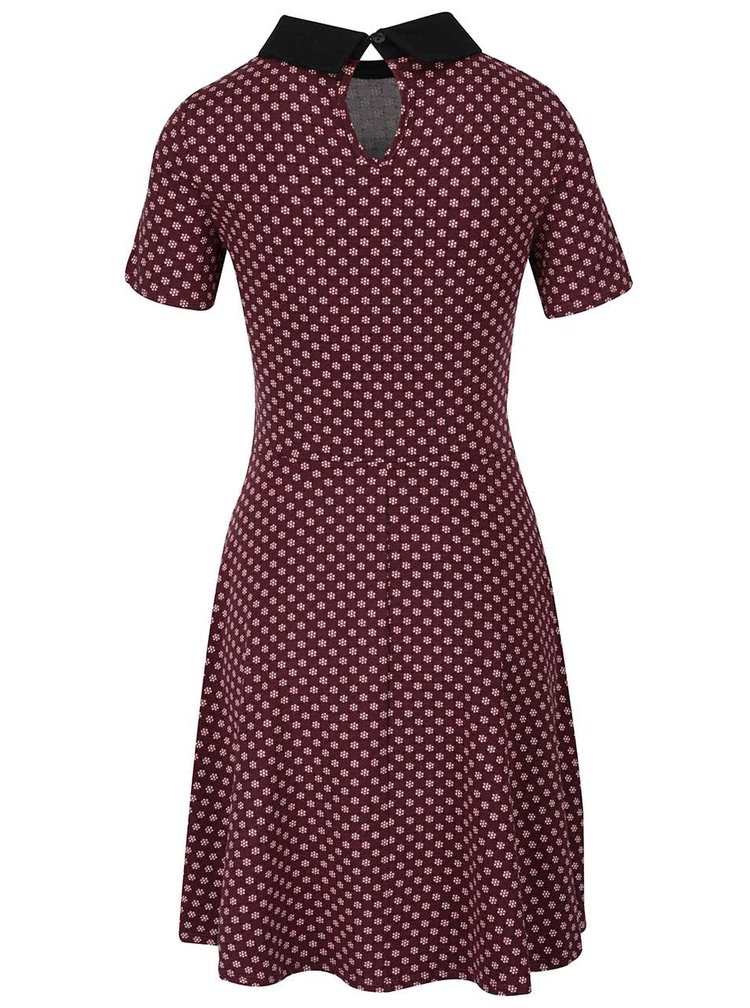 Vínové šaty s motivem květin a límečkem Dorothy Perkins