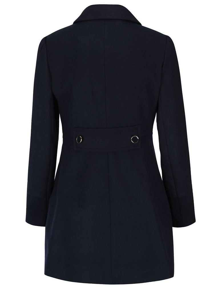 Tmavomodrý kabát s gombíkmi v zlatej farbe Miss Selfridge Petites