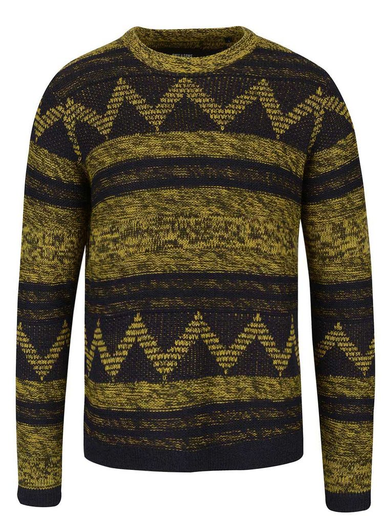 Modro-žltý vzorovaný sveter ONLY & SONS Dudley