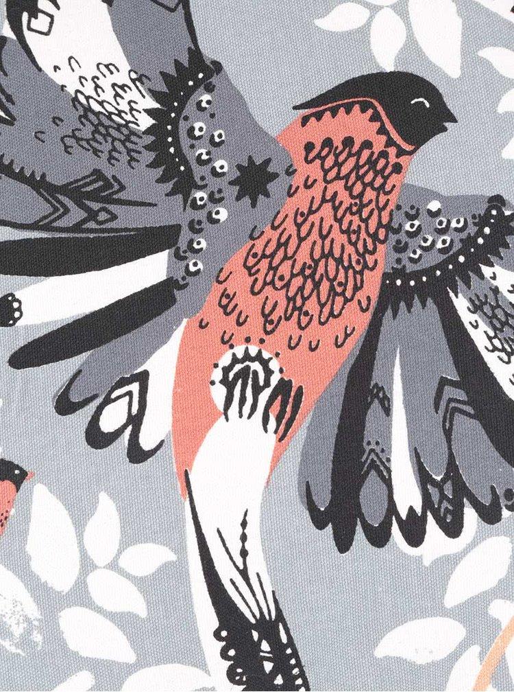 Pernă gri Disaster cu decorațiune în formă de pasăre