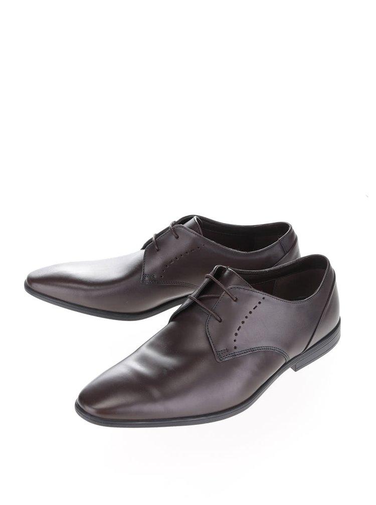 Pantofi maro inchis Clarks Bampton Lace din piele naturala
